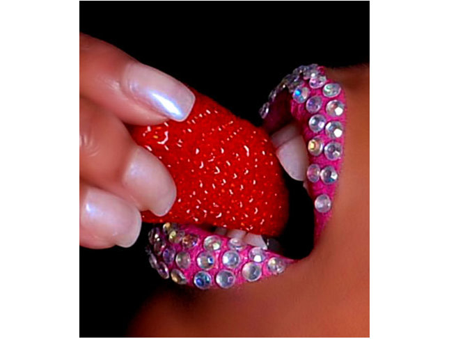 Diamante' rhinestone crystal pink lips